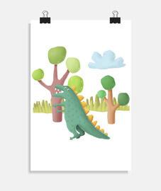Poster dinosaurio habitación niño