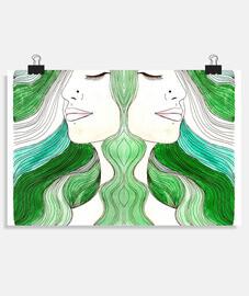 poster doppio piercing verde