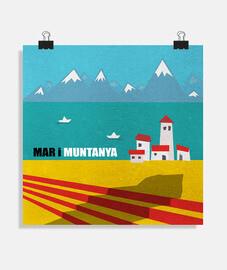 poster mar i muntanya (40 x 40 cm)