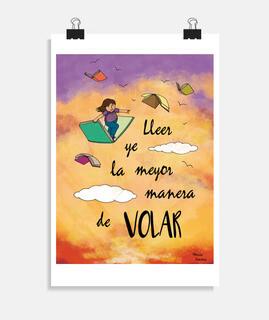 Póster vertical, Lleer y volar, asturianu, Mónica Jiménez Art