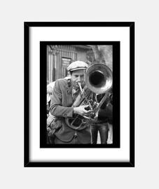 Póster vintage, músico con trombón