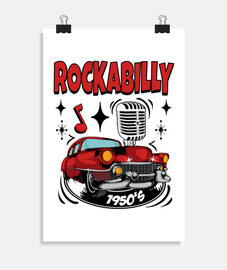 poster vintage rockabilly music rocker anni '50 vintage rock and roll american classic cars usa
