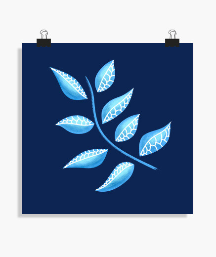 Pretty Blue Plant Botanical Abstract poster