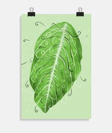 Pretty Botanical Swirly Green Leaf