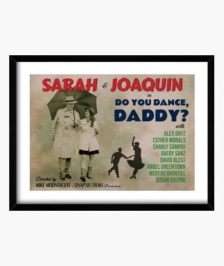 Quadro antico poster di danza, papà