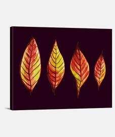 quatre feuilles d'automne rouges et jaunes