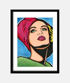 ragazza vintage con cappello rosso pop art di cristina galvez