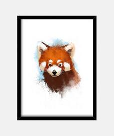 Red panda ink print