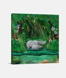 rhinocéros mère and cub