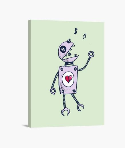 Tableau robot de chant heureux
