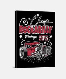 rockabilly music hotrod vintage USA rock and roll impression sur toile