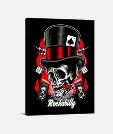 rockabilly music skull retro rockers usa rock and roll canvas print