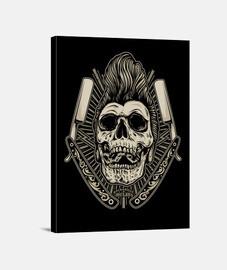 rockabilly skull psychobilly rockers retro bikers usa rock music canvas print