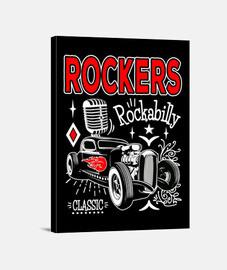 rockers rockabilly musique rétro hot rod vintage rock n roll graisseur USA impression sur toile