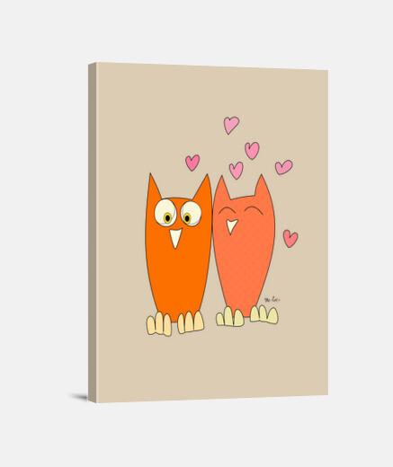 Romántica pareja de divertidos búhos
