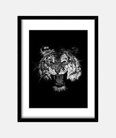 rugissement de tigre noir et blanc