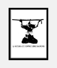 Samurai saludo victoria, Cuadro con marco vertical 3:4 (30 x 40 cm)