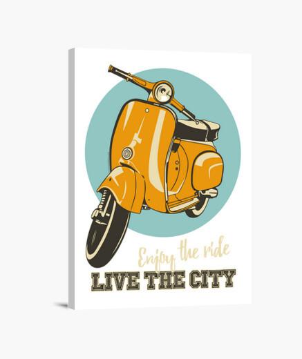 Tableau scooter classique - ville en direct