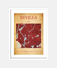 Sevilla Map - Cuadro con marco blanco vertical 3:4 (15 x 20 cm)