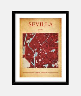 Sevilla Map - Cuadro con marco negro vertical 3:4 (15 x 20 cm)