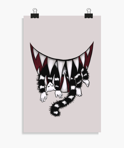 Sharp Teeth Monster Cat Eater poster
