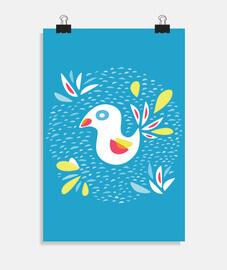 simpatico uccello astratto in primavera