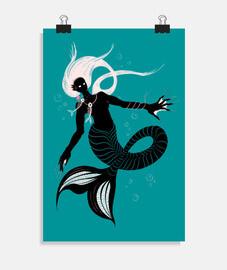 sirena scura con collana a lisca di pes
