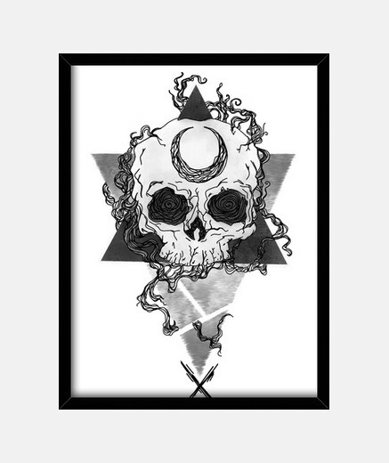 skull frame with vertical black frame 3: 4 (15 x 20 cm)