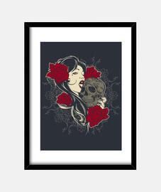 skull, roses, girl
