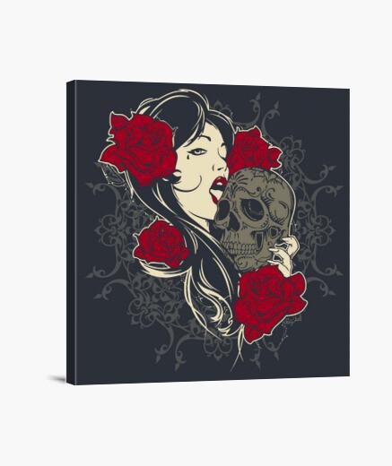 Lienzo skull, roses, girl