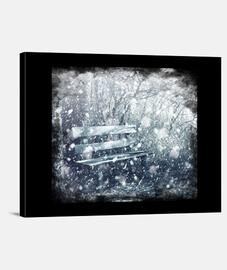 Snow - Lienzo en bastidor horizontal 4:3. Tela de lienzo