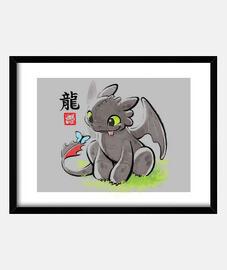stampa del drago watercolor