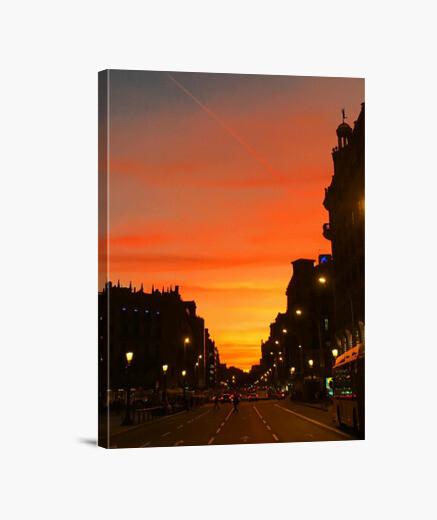 Stampa su tela sunset barcelona - vertical...