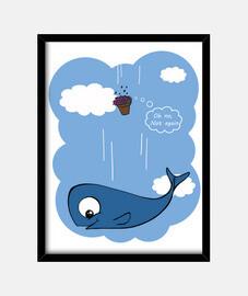 tableau baleine et pétunias