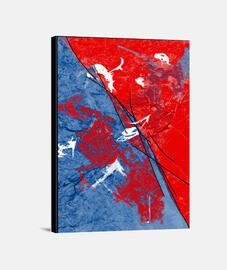 Tableau design rouge et bleu mêlés