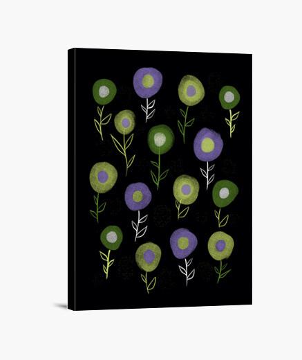 Tableau motif de fleurs rondes violet vert