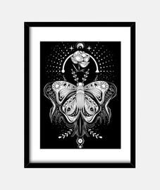 tatouage papillon tribal - tee noir