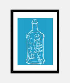 the bottle of rum. (white)