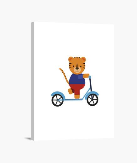 Lienzo tigre en scooter