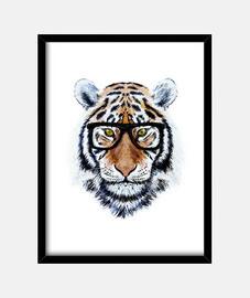 tigre visage avec des lunettes