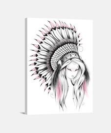 tocado de indio versión de color rosa