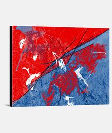 Toile Variations bleues et rouges