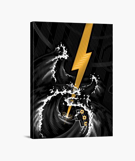 Lienzo tormenta de guitarra eléctrica