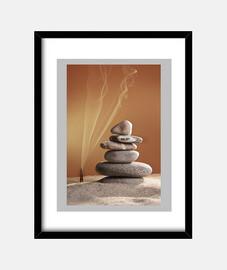 tour de pierres dans le sable et de l'encens