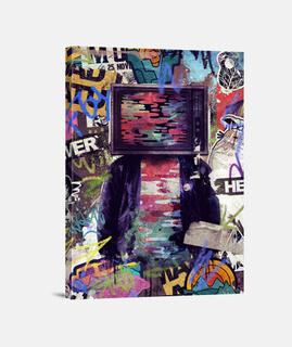 TV-Kopf Street Art