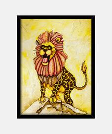 un leone con il costume giraffa