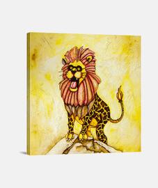 un lion avec le costume de girafe