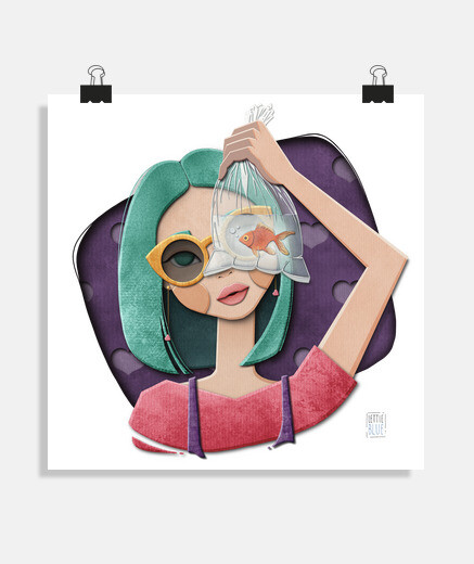 Una chica, un pez y corazones