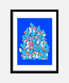 una pila de agua arrancadores de impresión del arte