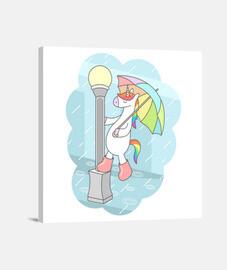 Unicornio cantando bajo la lluvia